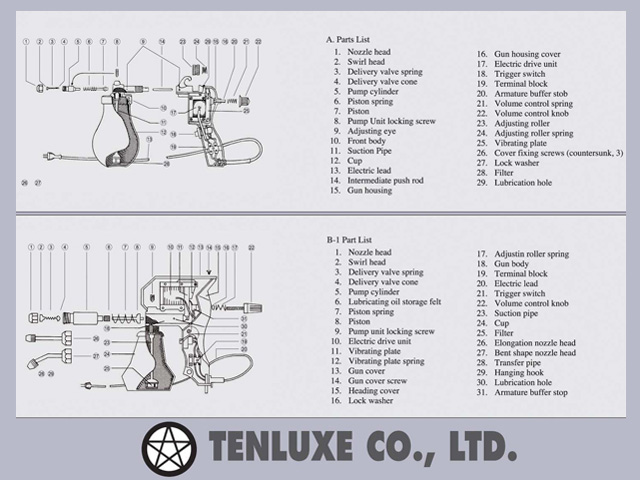 Tenluxe Gun A/B-1 Type Parts List